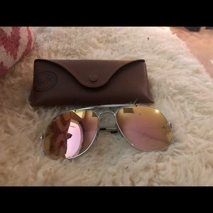 women's Ray Bans with pink glass and case